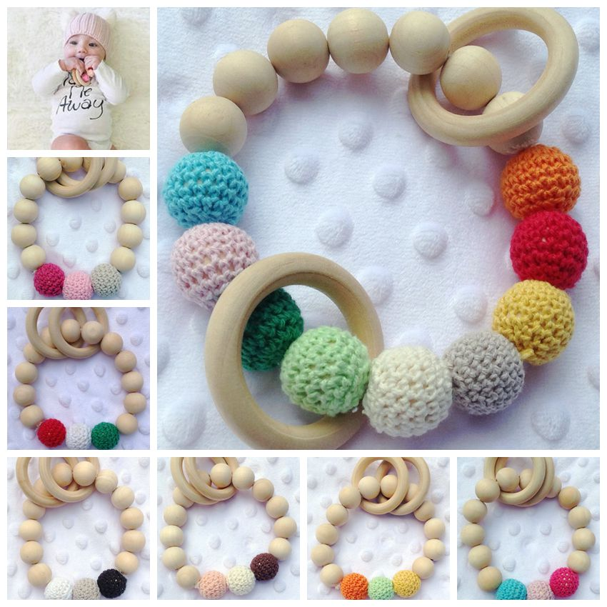 2017 Baby Teether Teething Color Ball Ring Wood Ring Teething Ring Training Toothbrushes Natural Wood Beads Toys for Baby Smooth