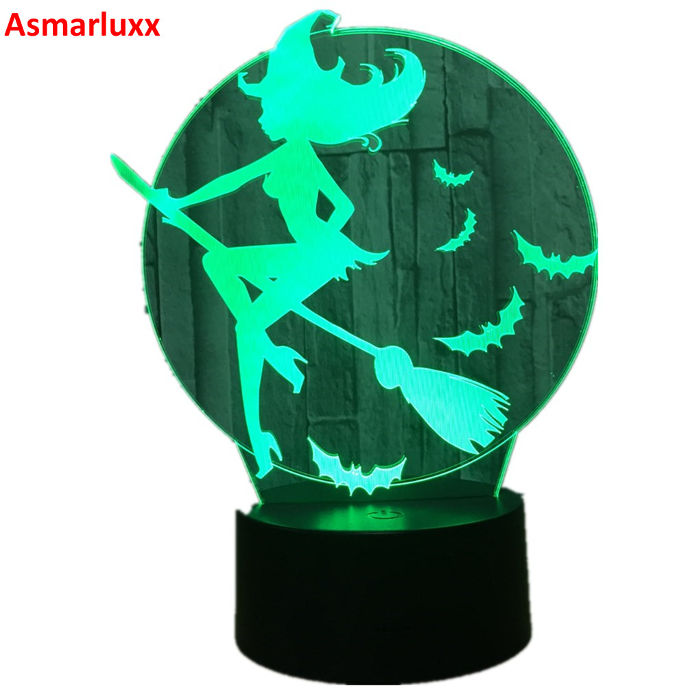 Halloween Bat Witch 3D LED Lamp Acrylic 7 Color Changing 3D LED Nightlight Bedroom Lamp Living Room Lights Decoration Touch USB