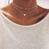 Neue Pfirsich Herz Perlen Halskette Frauen Schmuckstück Silber Gold Kette Choker Schmuck Anhänger Neckless Frau Layered Halsketten O35