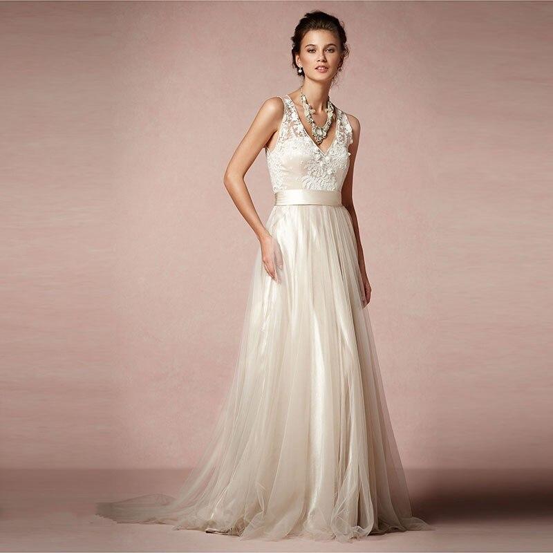 Fashion Simple Lace Wedding Dresses 2016 V Neck Appliques Tulle ...