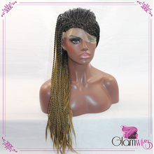 Hand Braided Wig Synthetic Lace Front Wig Glueless Box Braided Ombre Braiding Hair Wig With Baby