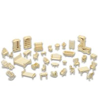 A Kids Toy Of 3d Wooden Puzzle 34 Pcs Set Miniature 1 12 Dollhouse Furniture For