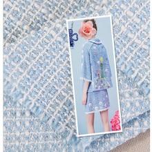 SASKIA 1Yard Yarn Dye Metallic Woolen Fabric 148CM Width 525G/M Sewing Clothes Dress Overcoat Material bLue Coat Diy
