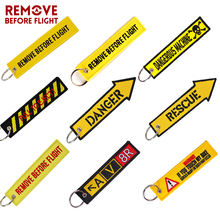 Wholesale Remove Before Flight Keychain Key Ring Embroidery auto Chains for Motorcycle ATV Car Tag Yelloew Danger