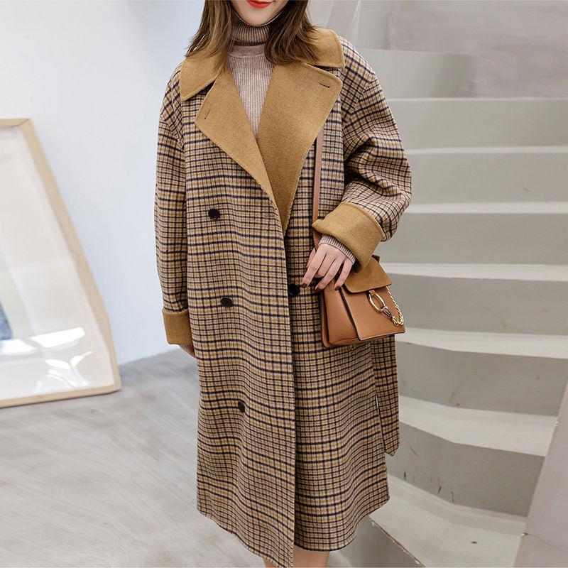 Laine Survêtement Mélange Chaud De Double As Picture Hiver Ceinture Mode Automne Coréenne Long Femmes Breasted Plaid 2018 Manteau ZYHwqH