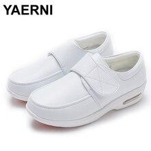 YAERNI Air Cushion Fall Winter Nurse Shoes Womens Platform Sneakers 2019 White Split Leather Loafers Women Moccasins with Fur
