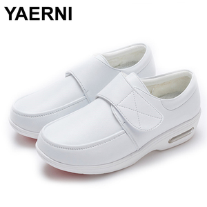 Image 1 - YAERNI Air Cushion Fall Winter Nurse Shoes Womens Platform Sneakers 2019 White Split Leather Loafers Women Moccasins with Fur