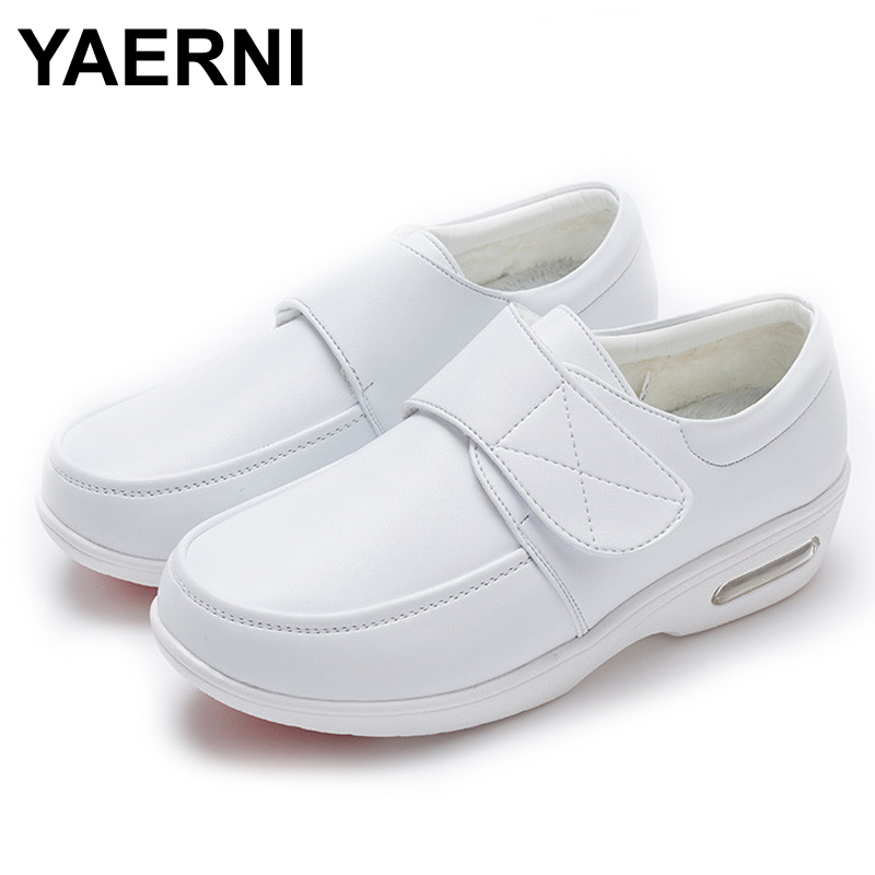 YAERNI Air Cushion Fall Winter Nurse Shoes Women's Platform Sneakers 2019 White Split Leather Loafers Women Moccasins with Fur image