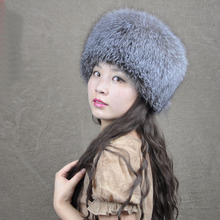 Silver blue fox cylincler full leather cap male female winter thermal fox fur hat