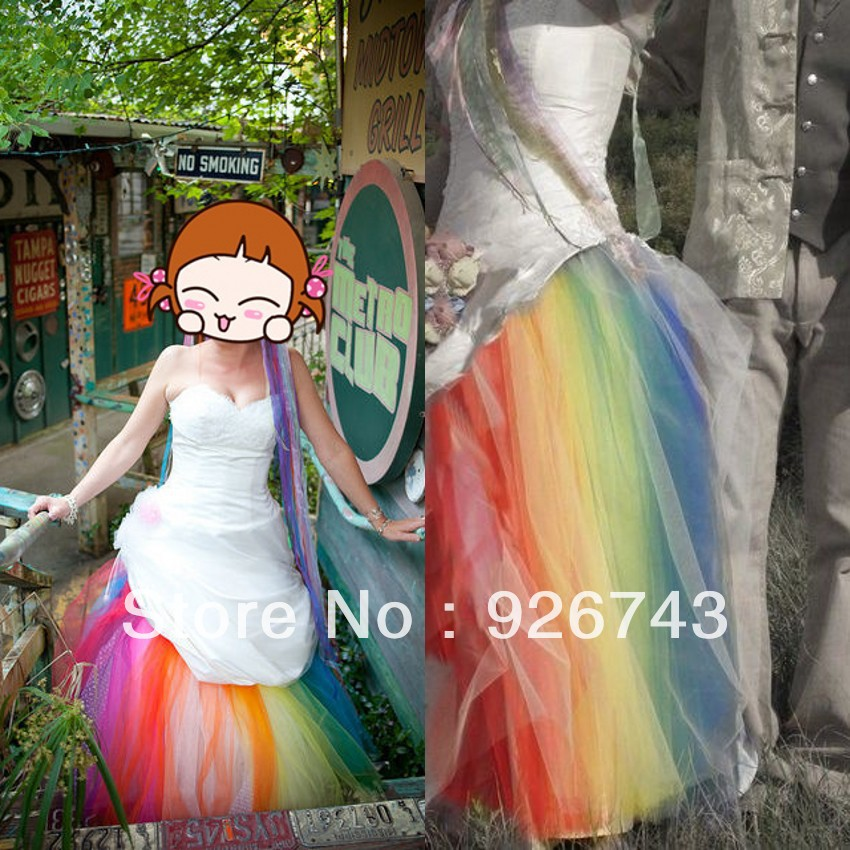 Sunny sweetheart neckline white taffeta colorful tulle for Rainbow wedding dress say yes to the dress