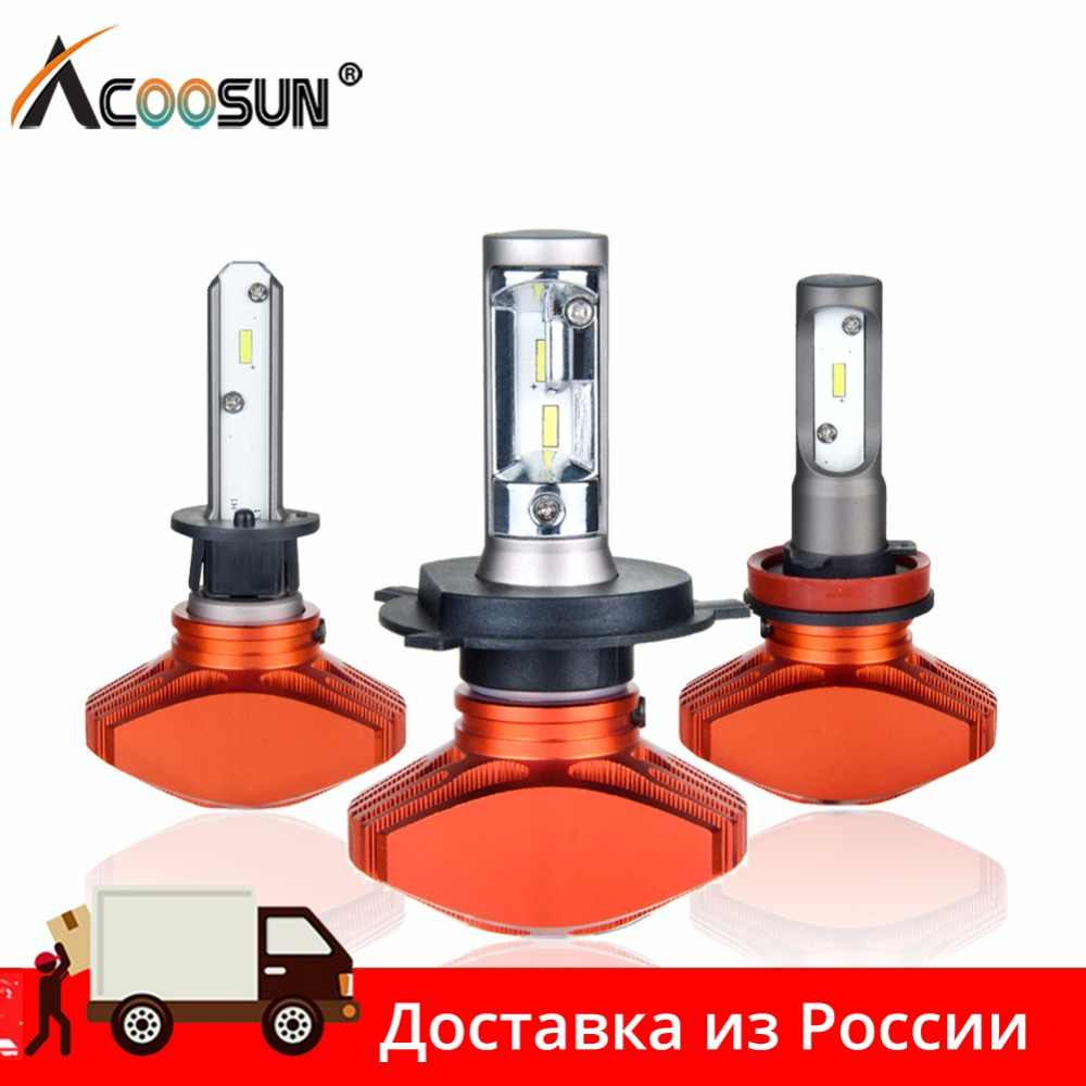 AcooSun H4 H7 Led Car Bulb H11 H1 CSP LED Auto Headlight 80W 8000LM/Set 9005/HB3 9006/HB4 H3K Led Fog Light White 6000K 12V 24V