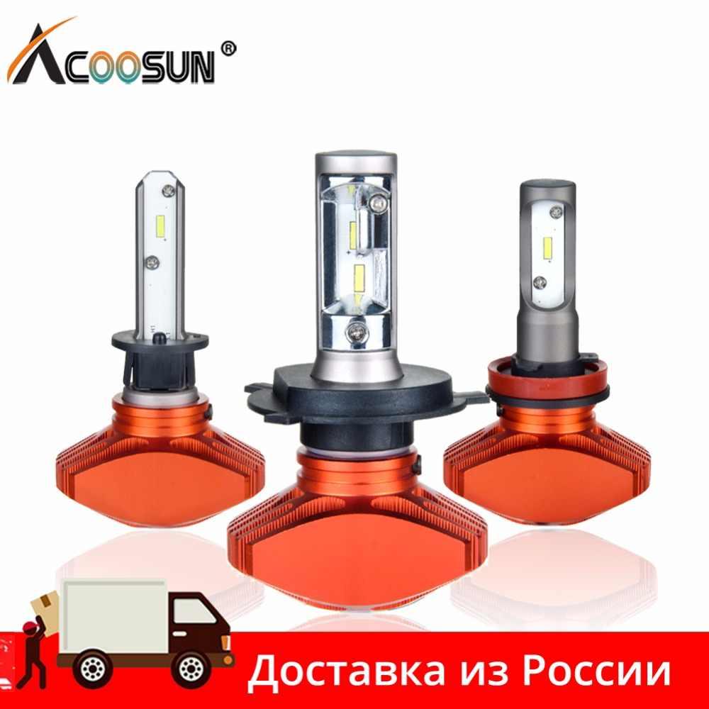 AcooSun H4 H7 Led Car Bulb H11 H1 CSP LED Auto Headlight 80W 8000LM/Set 9005/HB3 9006/HB4 H3K Led Fog Light White 6000K 12V 24V