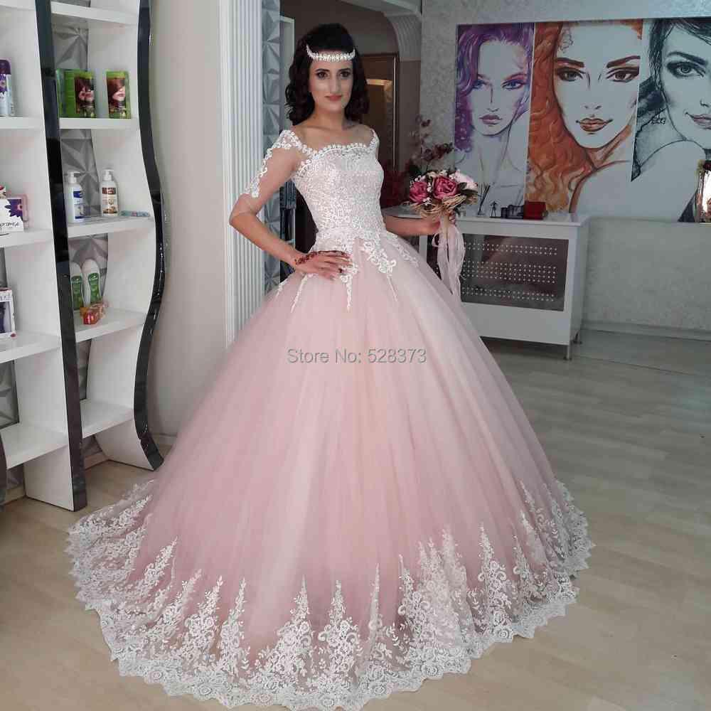 Pink And White Wedding Gowns: YNQNFS RWD26 Robe De Mariee Hochzeitskleid Elegant Half