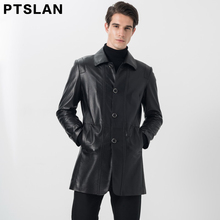 Ptslan 2017 Men's Genuine Leather Coat Real Sheepskin B Windbreaker Long Sleeve Good Quality Black Lambskin Original Basic