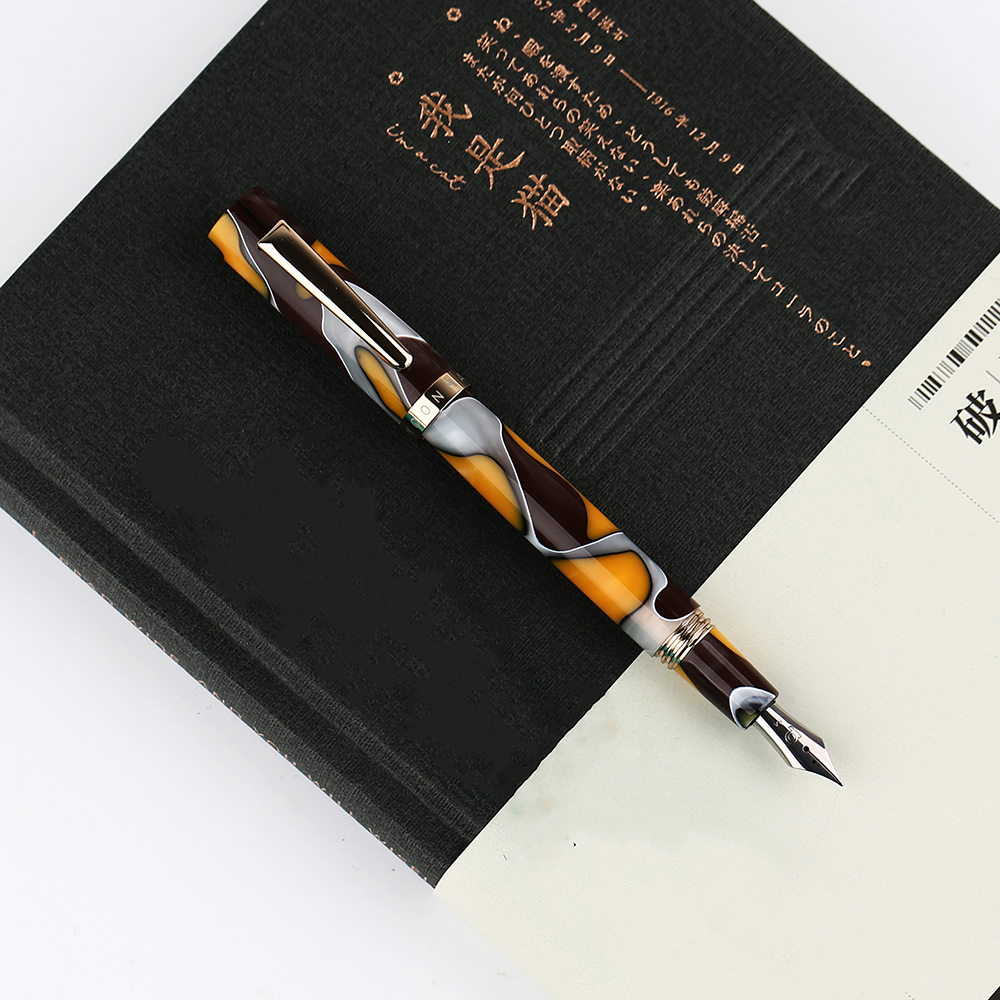 Moonman N2 Mini Resin Acrylic Amber Fountain Pen Pocket Short Ink Pen Fashion Gift Set Extra Fine/ Fine 0.38/0.5mm for Office
