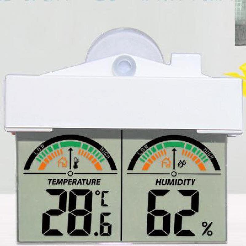 JIMEI H208H roof design Window temperature humidity meter with suction cup and adhesive tape for easy mounting used in/outdoor
