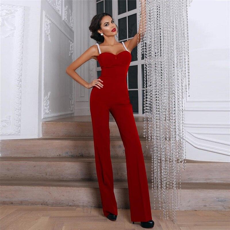 Cut Perles Strap Salopette Red rExrFq7n Qualité Élégant Rouge Spaghetti Femmes Top Soirée Slim qEfH1wH