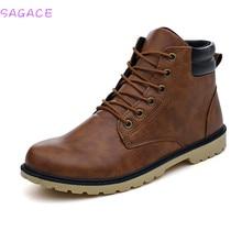 SAGACE Men Low Ankle Trim Flat Ankle Winter Autumn Boots Casual Martin Shoes Men Fashion Male Boots Leather Footwear Size39-44