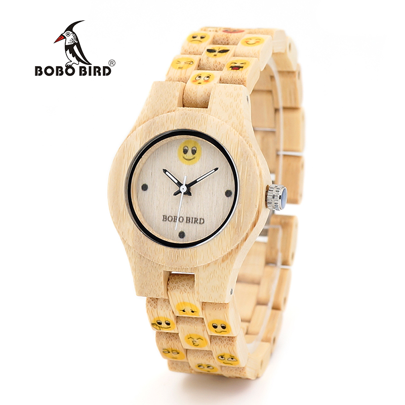 BOBO BIRD WO06 Bamboo Watches for Women New Fashion Created Emoji Face Full Bamboo Strap Quarta Watch for Ladies in Wood Box bobo bird l b08 bamboo wooden watches for men women casual wood dial face 2035 quartz watch silicone strap extra band as gift