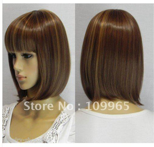 Cosplay short dark brown mixed straight Hair women wig/wigs   (Portal for free delivery)