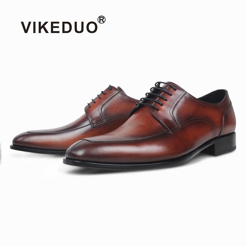 VIKEDUO Stylish Formal Dress Shoes For Men Genuine Leather Handmade Derby Shoes Wedding Office Brown Shoes Mans Footwear Zapatos