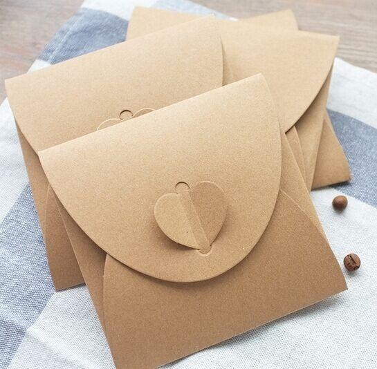 (50pcs/lot) Heart Kraft CD Paper Case Bag,Blank Kraft Envelopes, Natural color Plain Kraft Paper Gift Bag,Party Cards Paper bag