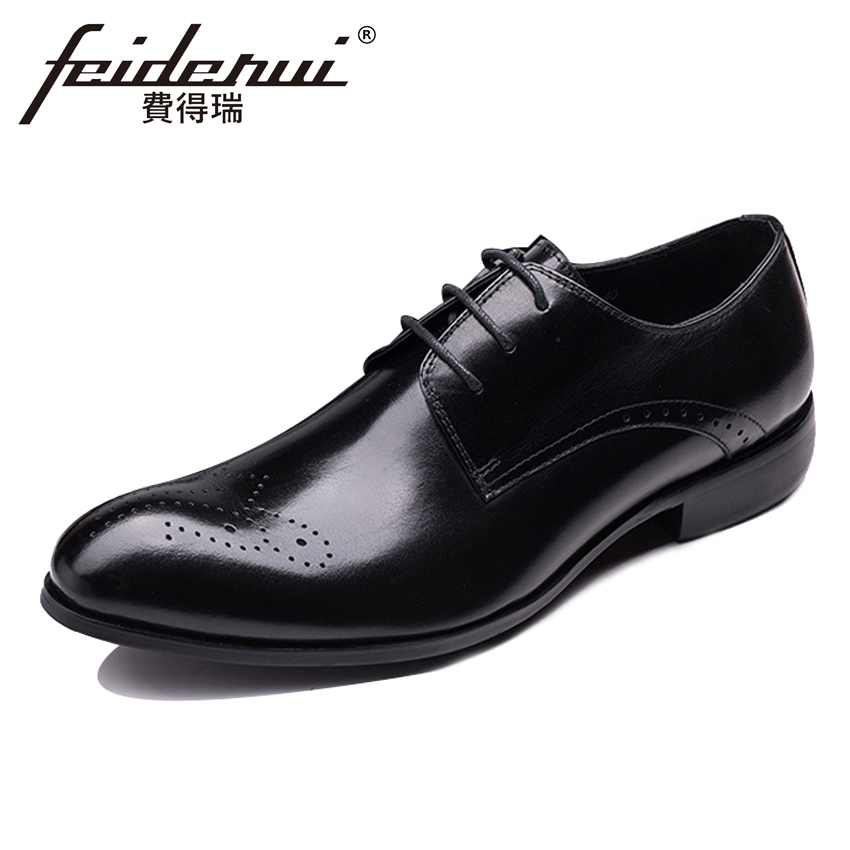 Genuine Leather Breathable Carved Men's Wedding Party Footwear Round Toe Lace-up Derby Man Handmade Formal Dress Shoes YMX520 elanrom summer men formal derby wedding dress shoes cow genuine leather lace up round toe latex height increasing 30mm massage