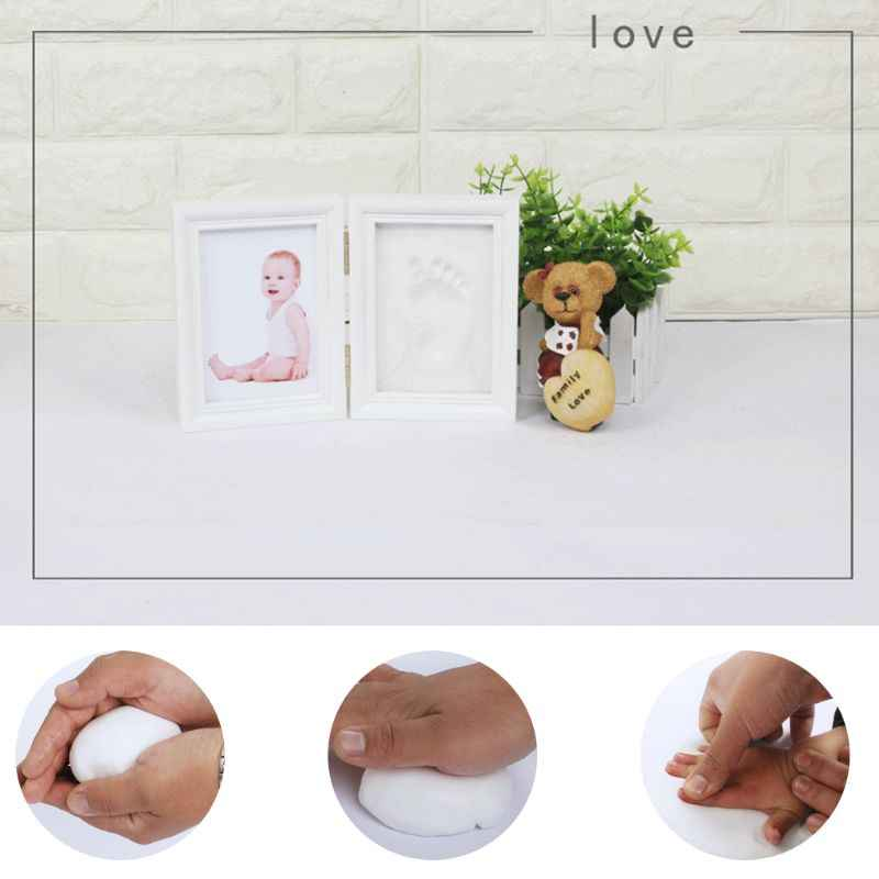DIY bebé mano pie imprimir imágenes pantalla madera foto marco recuerdos conmemorar niños crecimiento memoria