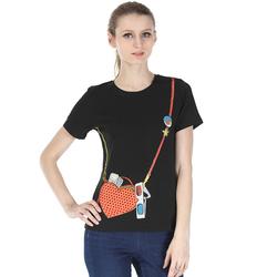 2021 Funny T shirts Sling Bag Pattern Cotton Short Sleeve Embroidery Women Fashion New Top Tee Shirt Femme Woman Noble Clothes