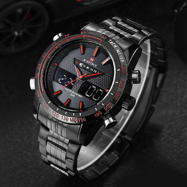 Mens Watches NAVIFORCE Luxury Brand Steel Quartz Clock Digital LED Watch Army Military Sport Watch Male relogio masculino