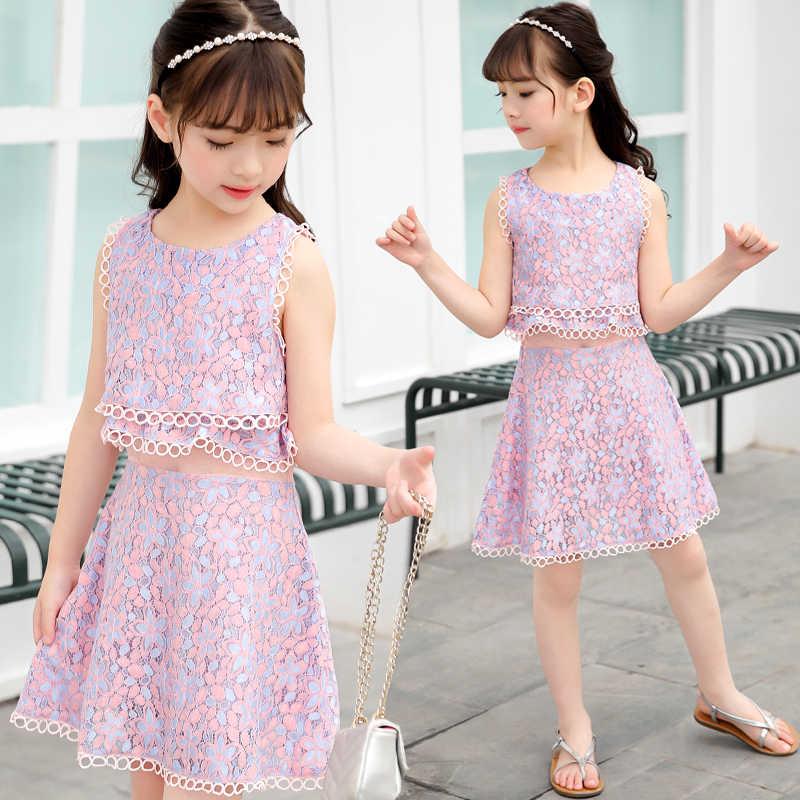女の子のファッション偽二枚のレースの花 2019 夏の子供服新韓国語バージョン王女のドレス女の子