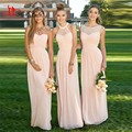 Blush Pink Cheap Long Bridesmaid Dresses 2016 vestidos de madrinha Mix Style Pleats Chiffon Formal Wedding Party Gown