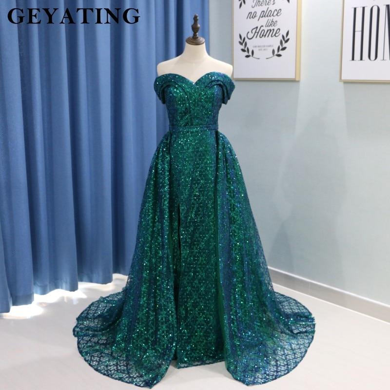Saudi Arabic Dark Green Mermaid Evening Dress Long Detachable Train Prom Dresses 2019 Dubai Turkish Off Shoulder Evening Gowns 2