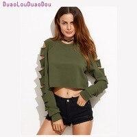 Cut Out Long Sleeve T Shirt Female Autumn Top Hip Hop T Shirt Women 2017 Stylish