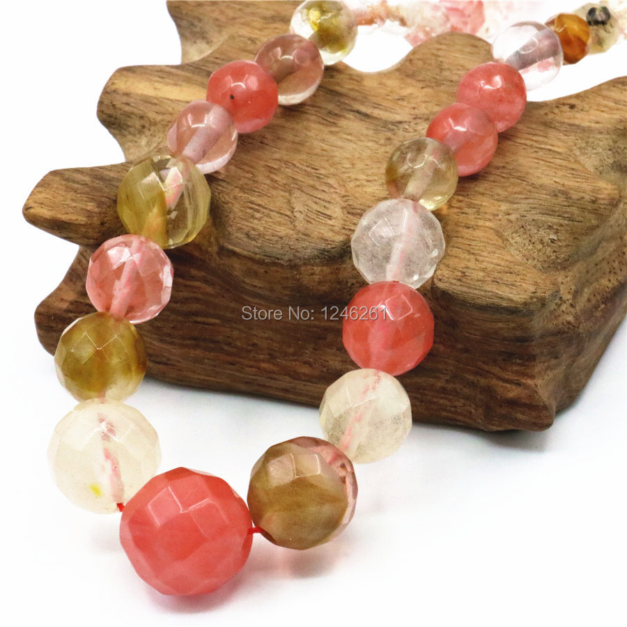 6-14mm Accessories Christmas Gifts Watermelon Tourmaline Women Girls Necklace Chain Stone Hand Made Jewelry making Design 15inch