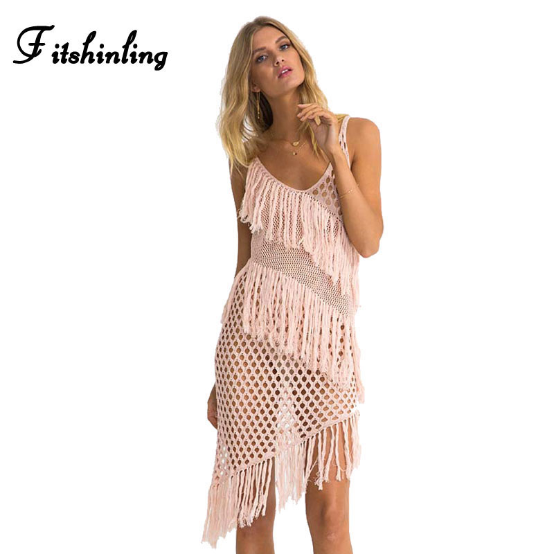 Fitshinling Summer fringe beach dress swimwear output see through sexy hot dresses women knitted pareos pink