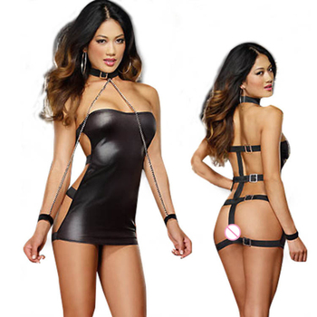 Black Sexy Lingerie Dress Women PVC Catsuit Sexy Stripper Pole Fetish Wear Role Play Games Latex Catsuits Adult Sex Product 1