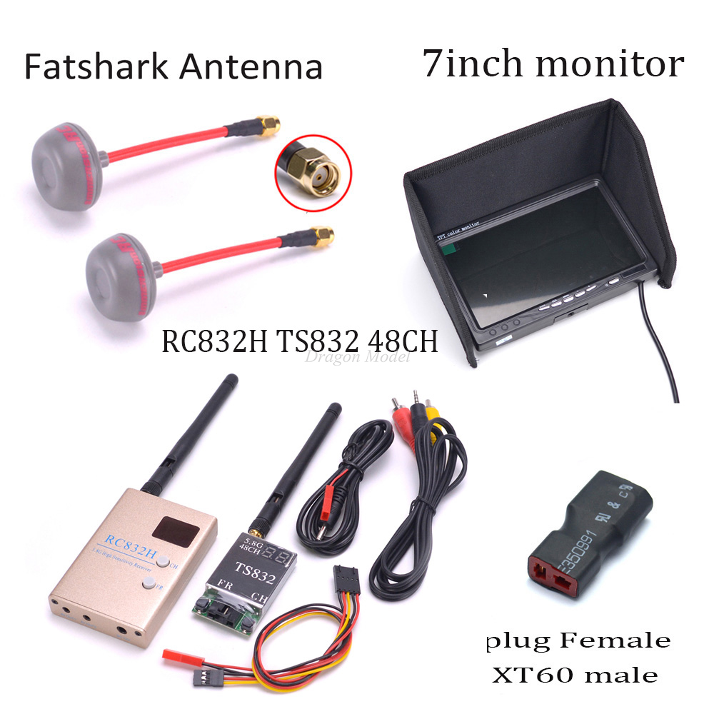 7 inch 7 LCD 1024 x 600 Monitor NO Blue FPV 5.8G TS832 Transmitter RC832 RC832H Receiver 600mW 48CH Fatshark Antenna For Drone eachine fpv boscam 5 8g 600mw 32ch wireless transmitter receiver ts832 rc832 for fpv multicopter