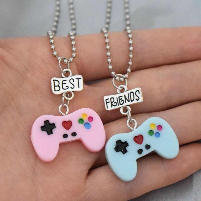 Children Best Friend Necklace Resin Pink Blue Game Handle Console Pendant BFF 2 Necklace Jewelry Gifts For Kids 2PCS/Set
