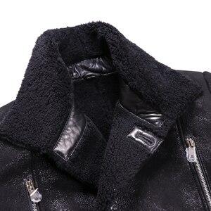 Image 5 - Chaqueta de piel de oveja auténtica Popular para hombre, chaqueta de piel de oveja genuina para hombre, prendas de vestir cálidas para invierno, abrigo de piel negro para hombre, talla grande 4XL
