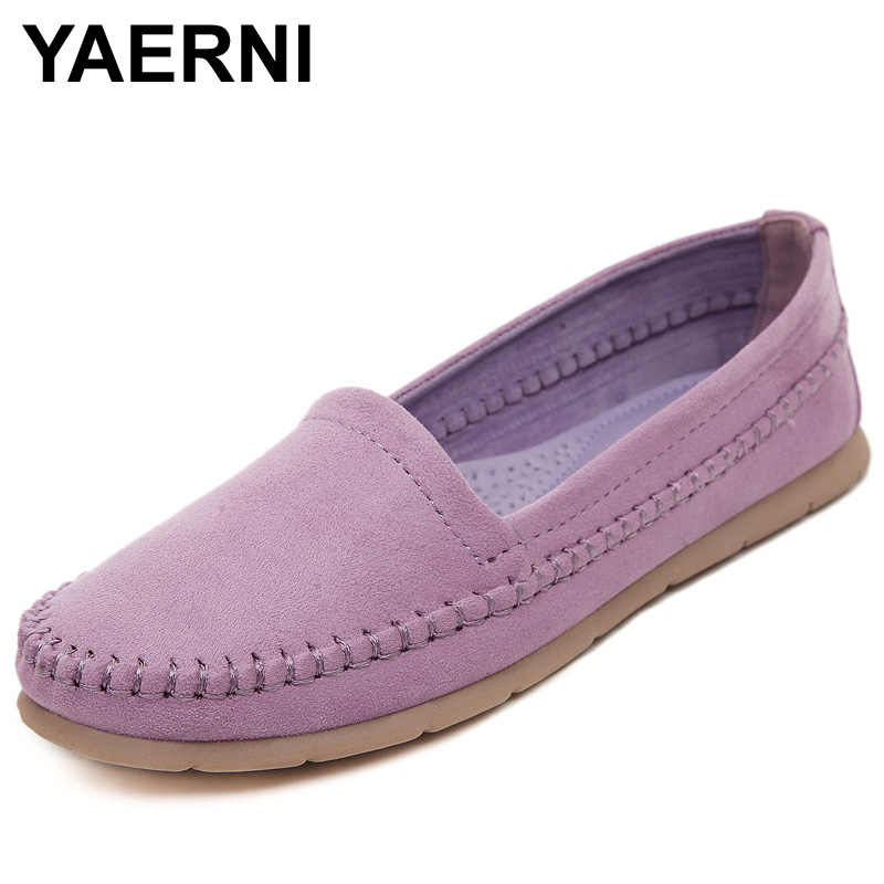YAERNI Women's Flats 2017 Soft Flock Loafers Slip-on Breathable Flats Spring Pregnant Women's Casual Flat Heel Shoes