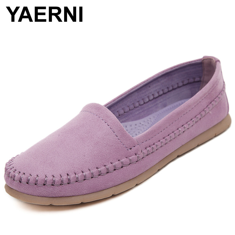 YAERNI Women's Flats 2017 Soft Flock Loafers Slip-on Breathable Flats Spring Pregnant Women's Casual Flat Heel Shoes spring shoes women flat heel round toe casual comfort flats pregnant loafers slip resistance low heels all match