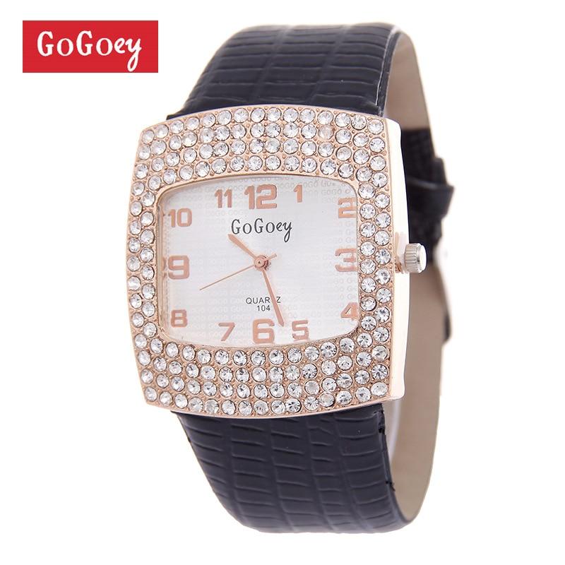 Hot Sales Gogoey Brand Rhinestone Leather Watch Women Ladies Crystal Dress Quartz Wrist Watch Clock Gift GO070