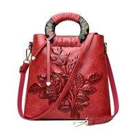 Vintage Women Printing Handbag Travel Female PU Leather Shoulder Bags Ladies Casual Handle Bag Large Flower Crossbody SS7014