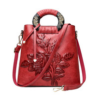 Vintage Women Printing Handbag Travel Female PU Leather Shoulder   Bags   Ladies Casual Handle   Bag   Large Flower Crossbody SS7014