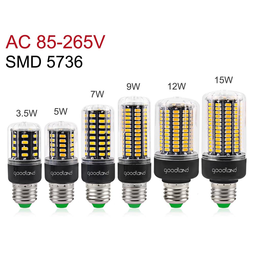 LED Lamp SMD5736 More Bright 5730 E27 LED Bulb Smart IC 3.5W 5W 7W 9W 12W 15W 20W LED Corn Light AC 110V 220V No Flicker Ampoule goodland e27 led lamp e14 led light 220v 110v led bulb 3 5w 5w 7w 9w 12w 15w 20w leds corn light smd 5736 no flicker lights