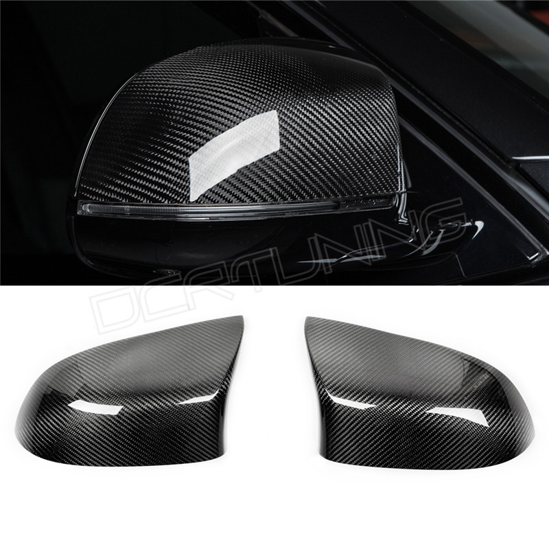 2 pieces / pair For BMW X5M F85 X6M F86 Carbon Fiber Rear View Mirror Cover Add on style & Replacement Style 2015 - UP replacement car styling carbon fiber abs rear side door mirror cover for bmw 5 series f10 gt f07 lci 2014 523i 528i 535i