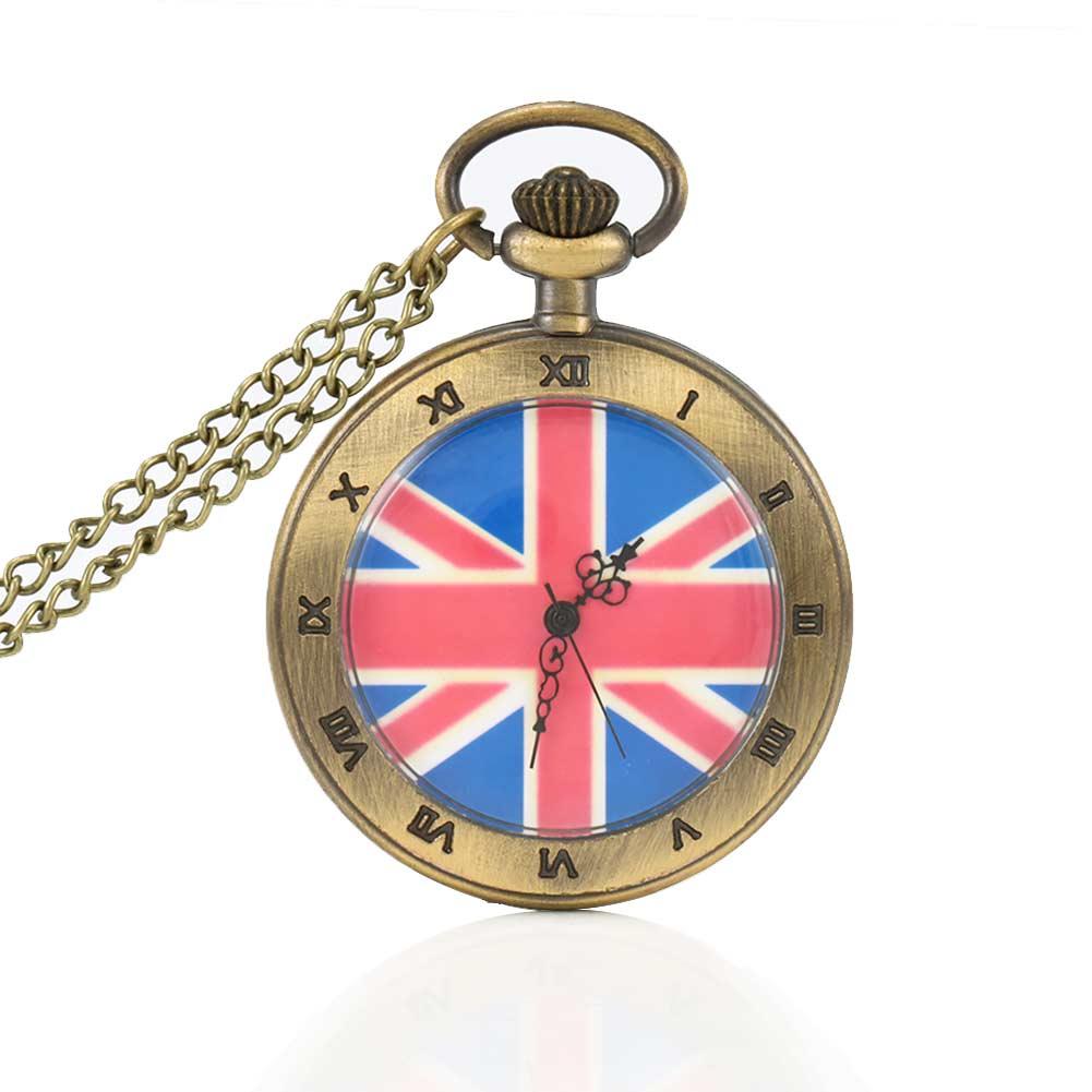 Pocket Watch Antique Union Jack British Flag Design Quartz Pocket Watch Pendant Necklace Chain Unique Clock Gift Flover LL@17