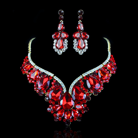Wedding Bridal Jewelry Set For Brides Red Crystal Water Drop Earrings Necklace Prom Party Dress Accessories