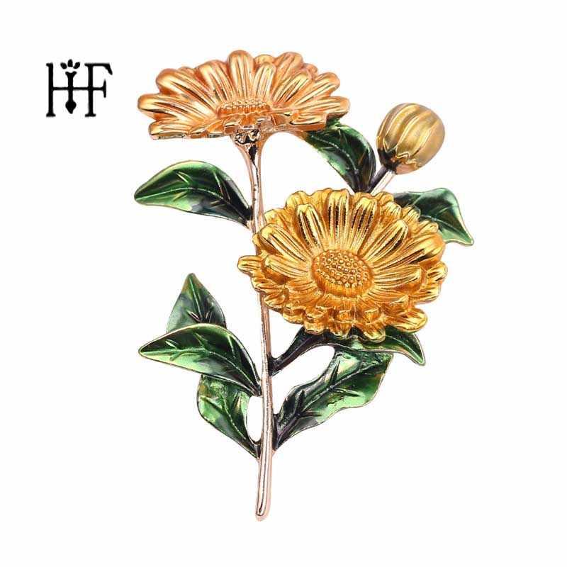 Sarı pembe papatya buket emaye broş Pins Metal çiçekler düğün ziyafet broş Pins kadınlar ve erkekler için yaka rozet pimleri